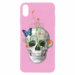 Чехол для iPhone X/Xs Skull and green flower