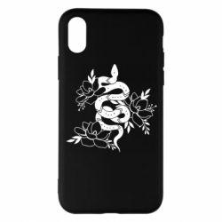 Чохол для iPhone X/Xs Snake with flowers