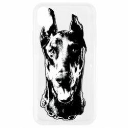 Чохол для iPhone XR Доберман чорний