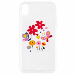Чехол для iPhone XR Flowers and Butterflies