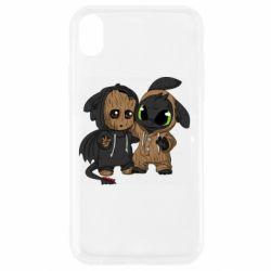 Чехол для iPhone XR Groot And Toothless