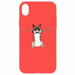 Чехол для iPhone XR Grumpy Cat On The Rope
