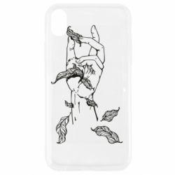 Чохол для iPhone XR Hand with leafs