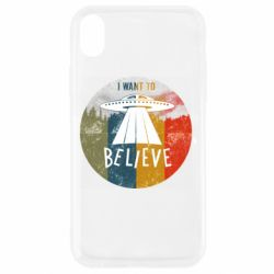 Чехол для iPhone XR I want to believe text