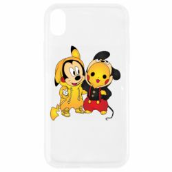 Чехол для iPhone XR Mickey and Pikachu