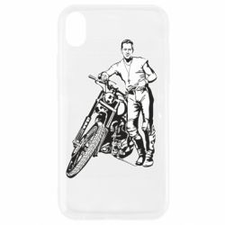 Чехол для iPhone XR Mickey Rourke and the motorcycle