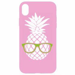 Чехол для iPhone XR Pineapple with glasses