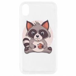 Чохол для iPhone XR Raccoon with cookies