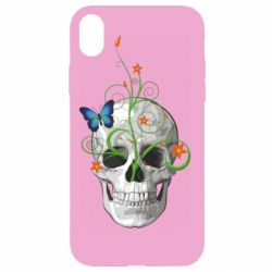 Чехол для iPhone XR Skull and green flower