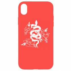 Чохол для iPhone XR Snake with flowers