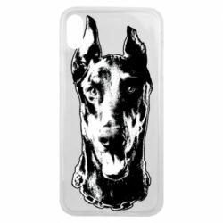 Чохол для iPhone Xs Max Доберман чорний