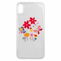 Чехол для iPhone Xs Max Flowers and Butterflies