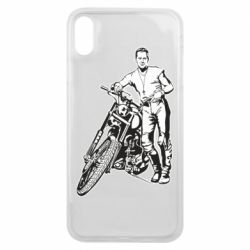 Чехол для iPhone Xs Max Mickey Rourke and the motorcycle