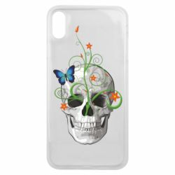 Чехол для iPhone Xs Max Skull and green flower