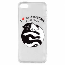 Чехол для iPhone5/5S/SE Cats with red heart