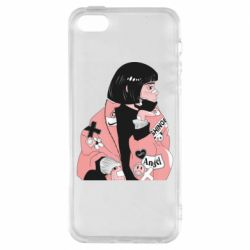 Чехол для iPhone5/5S/SE Girl with a square