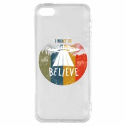 Чехол для iPhone5/5S/SE I want to believe text