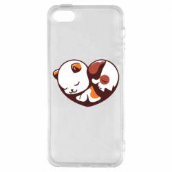 Чохол для iphone 5/5S/SE Сердечко. Котик и собачка