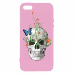Чехол для iPhone5/5S/SE Skull and green flower