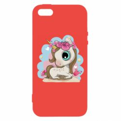 Чохол для iPhone 5 Unicorn with flowers