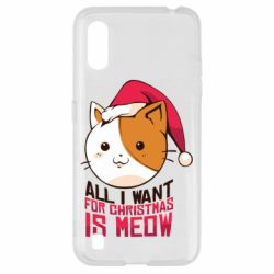Чехол для Samsung A01/M01 All i want for christmas is meow
