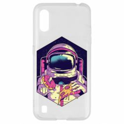 Чехол для Samsung A01/M01 Astronaut with donut and pizza