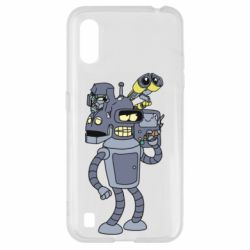 Чехол для Samsung A01/M01 Bender and the heads of robots