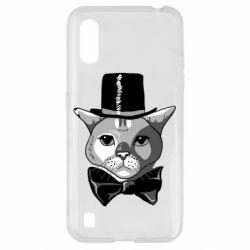 Чехол для Samsung A01/M01 Black and white cat intellectual