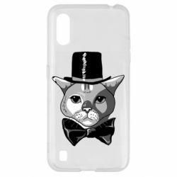 Чохол для Samsung A01/M01 Black and white cat intellectual