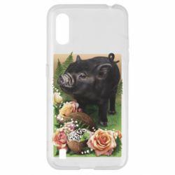 Чехол для Samsung A01/M01 Black pig and flowers