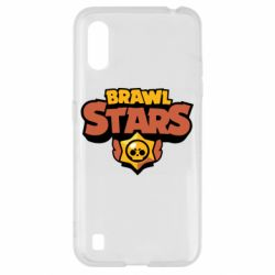 Чехол для Samsung A01/M01 Brawl Stars logo orang and yellow
