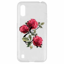 Чехол для Samsung A01/M01 Буква Е с розами