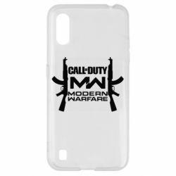Чехол для Samsung A01/M01 Call of debt MW logo and Kalashnikov