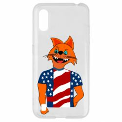 Чехол для Samsung A01/M01 Cat in American Flag T-shirt