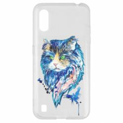 Чехол для Samsung A01/M01 Cat in blue shades of watercolor