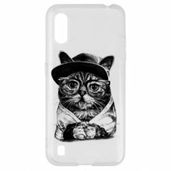 Чохол для Samsung A01/M01 Cat in glasses and a cap