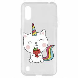 Чохол для Samsung A01/M01 Cat unicorn and strawberries