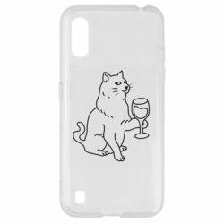 Чохол для Samsung A01/M01 Cat with a glass of wine