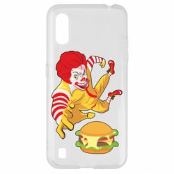 Чехол для Samsung A01/M01 Clown in flight with a burger