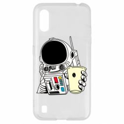 Чехол для Samsung A01/M01 Cosmonaut with a coffee