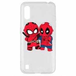 Чехол для Samsung A01/M01 Дэдпул и Человек паук