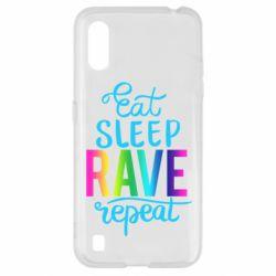 Чохол для Samsung A01/M01 Eat, sleep, RAVE, repeat