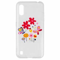 Чехол для Samsung A01/M01 Flowers and Butterflies