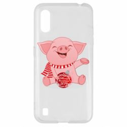 Чохол для Samsung A01/M01 Funny pig with a Christmas toy