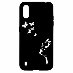 Чехол для Samsung A01/M01 Girl face and butterfly