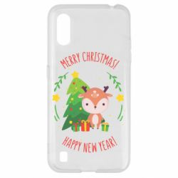 Чехол для Samsung A01/M01 Happy new year and deer