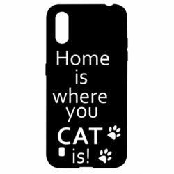 Чехол для Samsung A01/M01 Home is where your Cat is!
