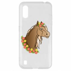 Чехол для Samsung A01/M01 Horse and flowers art