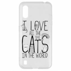 Чехол для Samsung A01/M01 I Love all the cats in the world