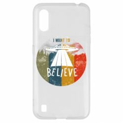 Чехол для Samsung A01/M01 I want to believe text